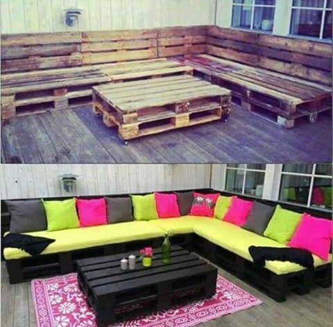 Muebles modernos de jard n con paletas de madera for Muebles de jardin de madera