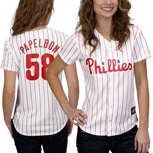 fb25c6bf8 ... jonathan papelbon philadelphia phillies womens 58 majestic replica jersey  white pinstripe phillies j