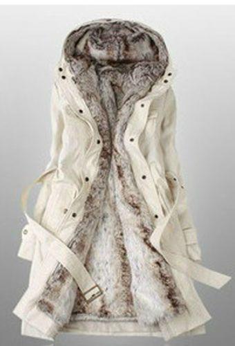 Details about Women's Thicken Fleece Faux Fur Warm Winter Coat ...