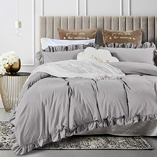 Queen S House Duvet Cover King Gray Washed Cotton Ruffles Quilt Cover Bedding King Set Shabby Ruffle Grey Qsh King Duvet Cover Ruffle Duvet Cover Ruffle Duvet