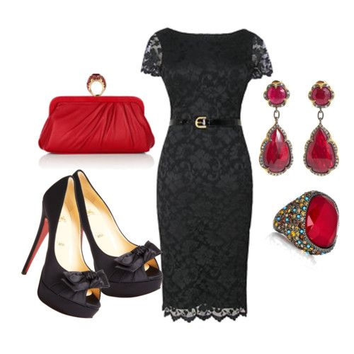 Black dress and red accessories
