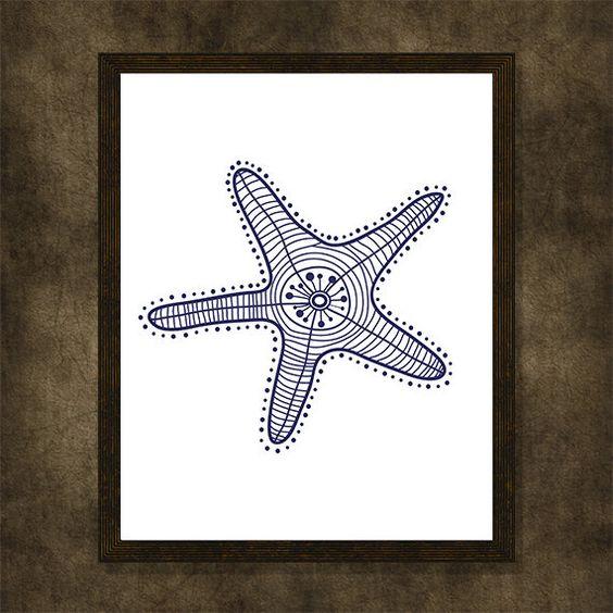 Blue starfish minimalist print by WhatAPrintableWorld