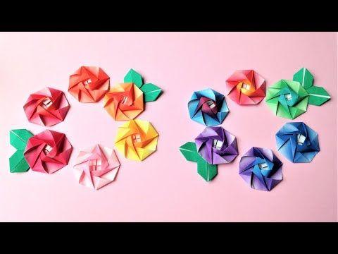 折り紙 1枚でバラの花 立体 平面 折り方 Origami Rose Flower Tutorial Niceno1 Youtube 2021 折り紙 バラ 折り紙のデコレーション ばら 折り紙