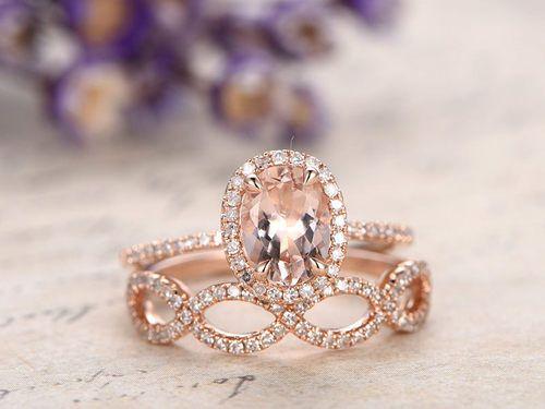 Morganite Ring Set Morganite Engagement Ring Morganite Engagement Ring Set Morganite Wedding Rings