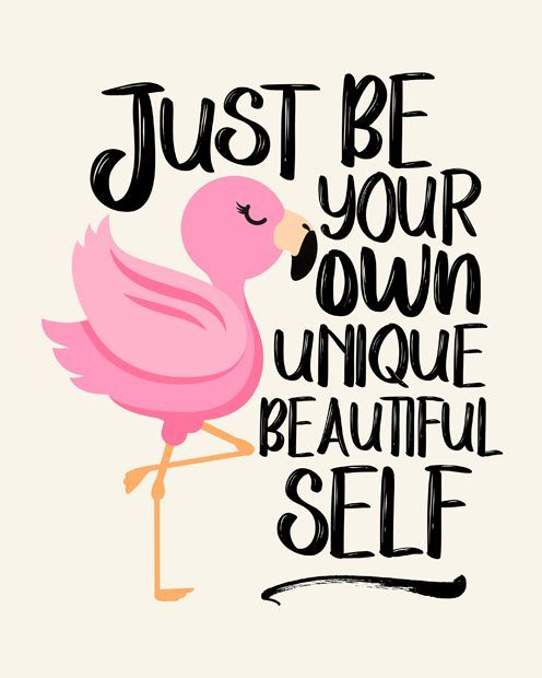 Just Be Your Own Unique Beautiful Self, Flamingo Wall Decor ...