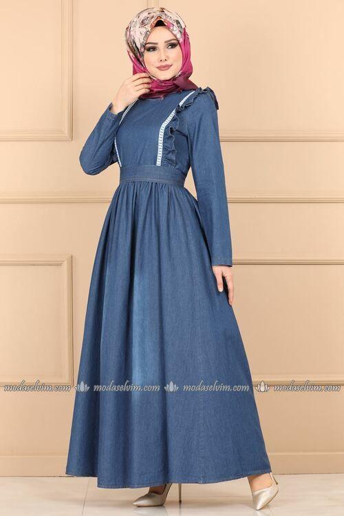 Modaselvim Elbise Firfirli Kemerli Kot Elbise Ast3012 Koyu Kot Fashion Casual Dress Dresses