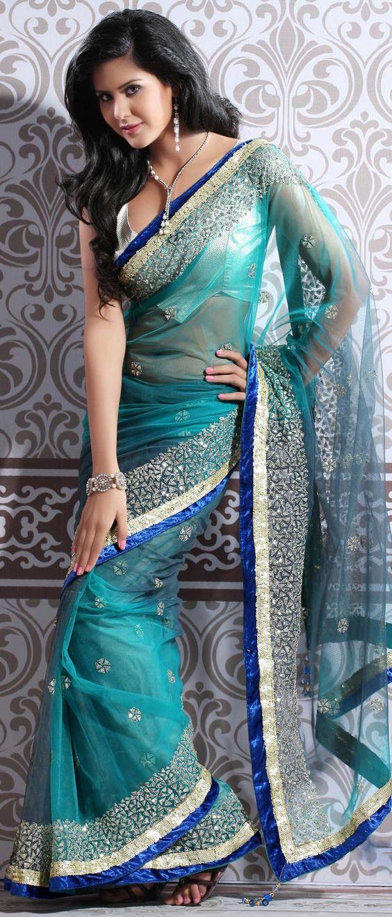 Aqua #Blue Soft Net #Saree with Blouse @ $180.02
