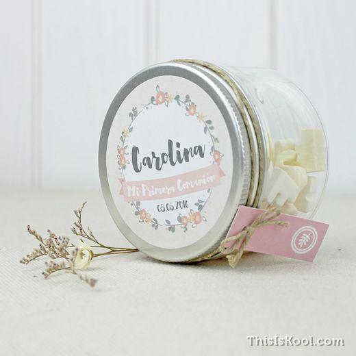 Tarros de chuches comuni n corona flores varis - Etiquetas para velas ...