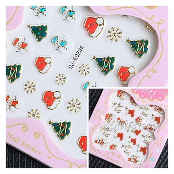 $1.83 1 Sheet Metal Snowflake Snowman Christmas 3D Nail Sticker Santa Claus Nail Stickers - BornPrettyStore.com