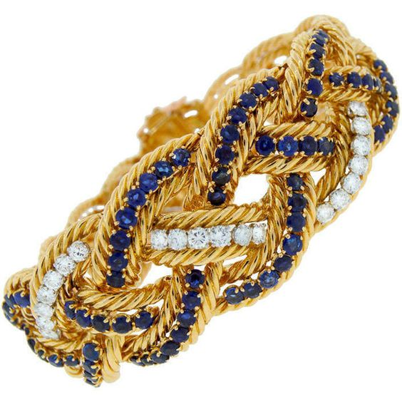 Pre-owned 1960s BOUCHERON Paris Diamond Sapphire & Yellow Gold... ($21,500) ❤ liked on Polyvore featuring jewelry, bracelets, more bracelets, yellow gold bracelet, gold braided bracelet, wide gold bracelet, gold bracelet and druzy bracelet