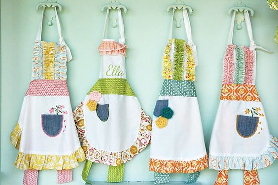 "Pocket Full of Posies birthday party - possible theme for A's 3rd or 4th birthday - love the homemade aprons - could marry it with a ""baking"" theme"