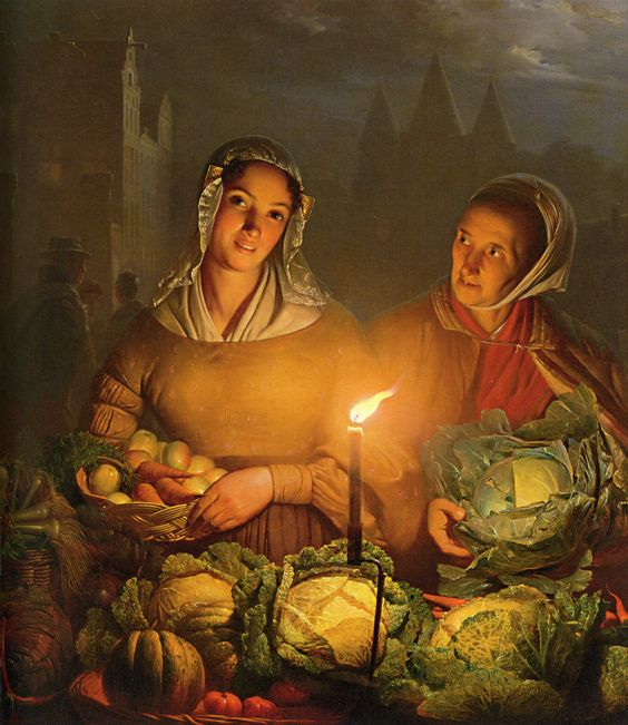 Petrus Van Schendel (1806-1870) The Vegetable Market Oil on canvas: