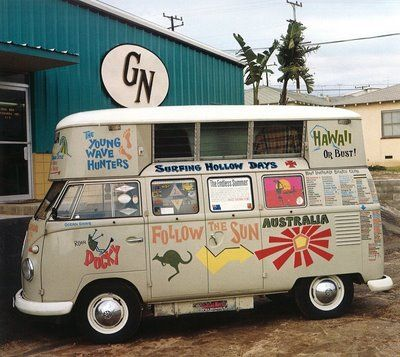 Greg Noll Factory, Hermosa Beach, 1965.  A pair of Australian surfers drove this classic Westfalia Kombi throughout Europe before shipping it over to pay homage to surf mecca.