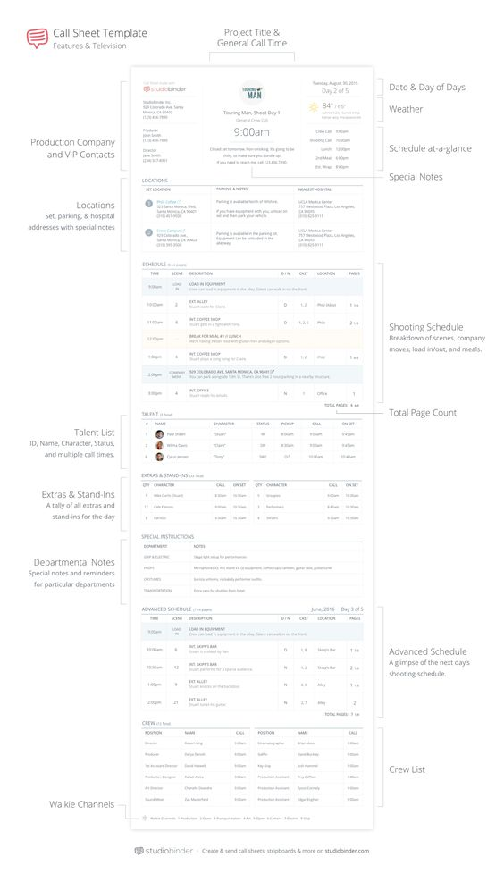 Call Sheet Template Anatomy  Studiobinder  Call Sheet