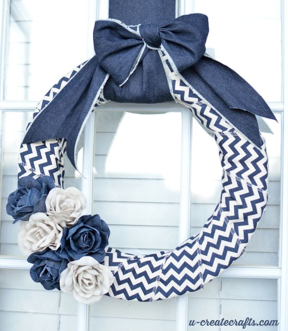 Denim Chevron Wreath Tutorial