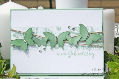 Karte mit Schmetterlingen - Papillon Potpourri von Stampin Up, nach der Vorlage von T. May