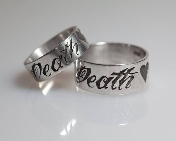 "Sterling ""Till Death"" Sterling His and Hers Ring Set with Anchor and Heart. $160.00, via Etsy."