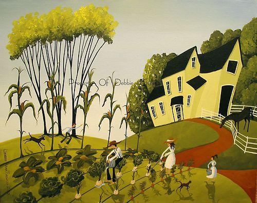 12x16 Print Folk Art Landscape Country Farm Garden Onions Corn Dog