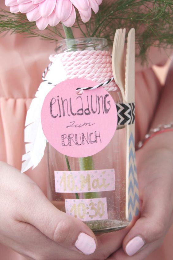 Muttertag Brunch Einladung in der Flasche 2