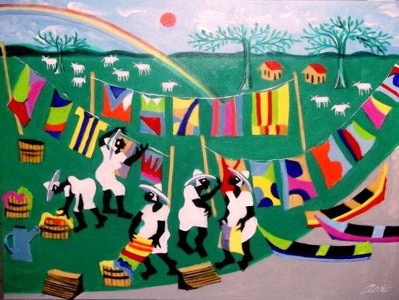 AECIO TEMA AS LAVADEIRAS A VENDA COM AJUR SP (Painting),  50x70 cm por Arte Naif AJUR SP VENDEDOR E DIVULGADOR DA ARTE NAIF BRASILEIRA