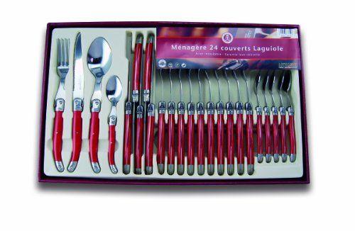 Laguiole Production 441310 Ménagère 24 Pièces: Couverts de Table Rouge Inox 18/0