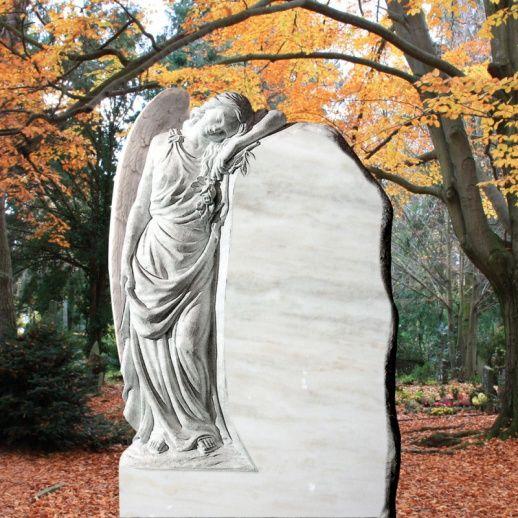 Exklusives Grabmal mit Marmorengel weiß; Qualität & Service direkt vom Bildhauer; Jetzt Grabstein online kaufen bei Serafinum.de