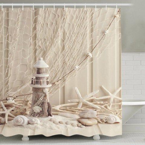 Beach Print Waterproof Mouldproof Shower Curtain Beach Shower
