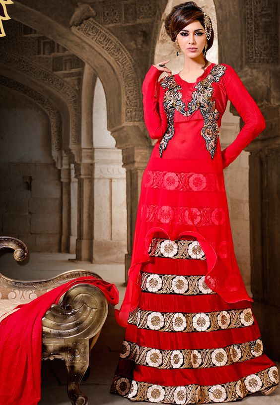 "#Ravishing Red!!  ""#Red Georgette And Raw Silk kameez designed with Resham Embroidery With Lace Work And Patch Patta Work. Available with Red Santoon Bottom with matching Chiffon Dupatta. This Semi Stitch kameez can be customized upto 44"""" inches.  INR: 5397.50 Only. With Exciting 15% discount.  Shop @ http://tinyurl.com/mxx2sh5"