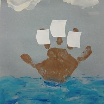 Okay..little late for Thanksgiving Mayflower but would also be cute for boat/transportation or under the sea theme (just add fish!). Yes, I'm a sucker for little kid handprint crafts :):