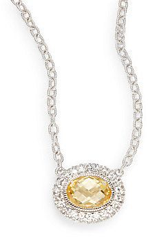 White Sapphire Pave & Crystal Pendant Necklace
