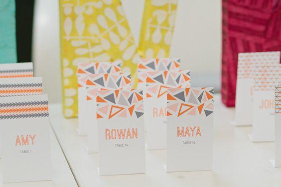 Geometric escort cards (Paper Bloom via Brooklyn Bride)