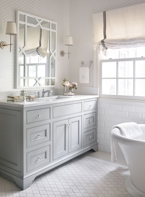 Friday 39 s favourites grey cabinets arabesque tile and for Gray bathroom wallpaper