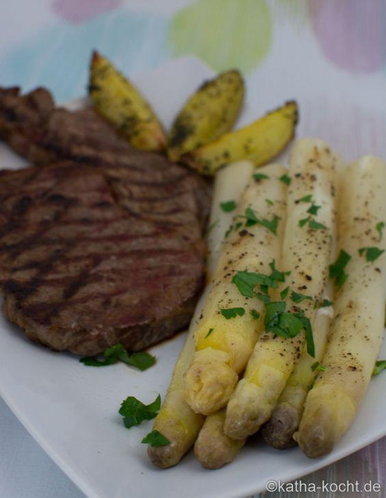 In Folie gebackener Spargel mit Steak - Katha-kocht!