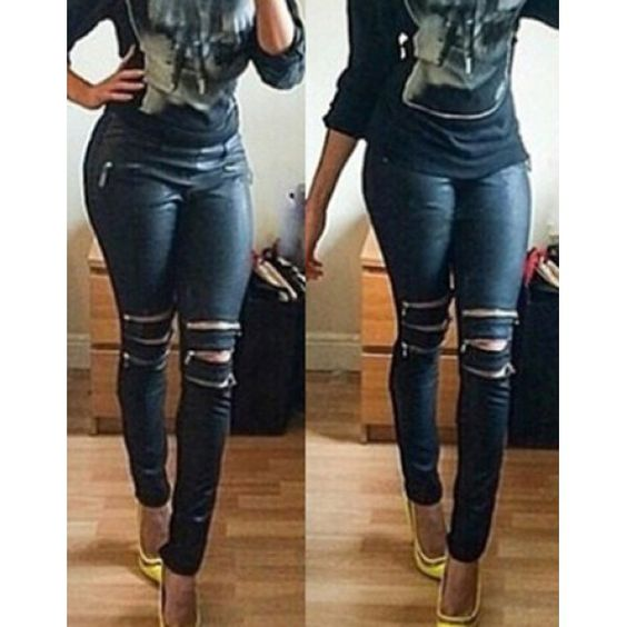 Wholesale Fashionable Mid-Waisted Slimming Zippered Women's Pants Only $8.85 Drop Shipping | TrendsGal.com