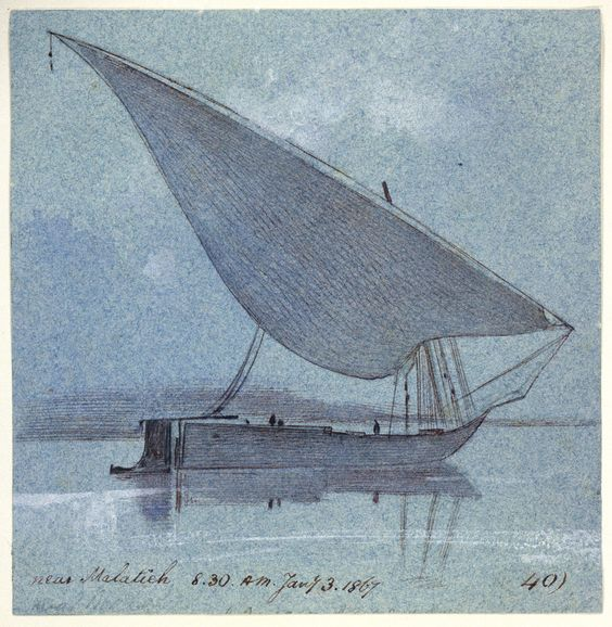 'Near Malatieh. 8.30.A.M. Jany. 3. 1867 40)'. This study of a gyassi, a lateen-rigged traditional cargo vessel, on the Nile near Malatieh was taken on Edward Lear's third journey to Egypt in 1867.