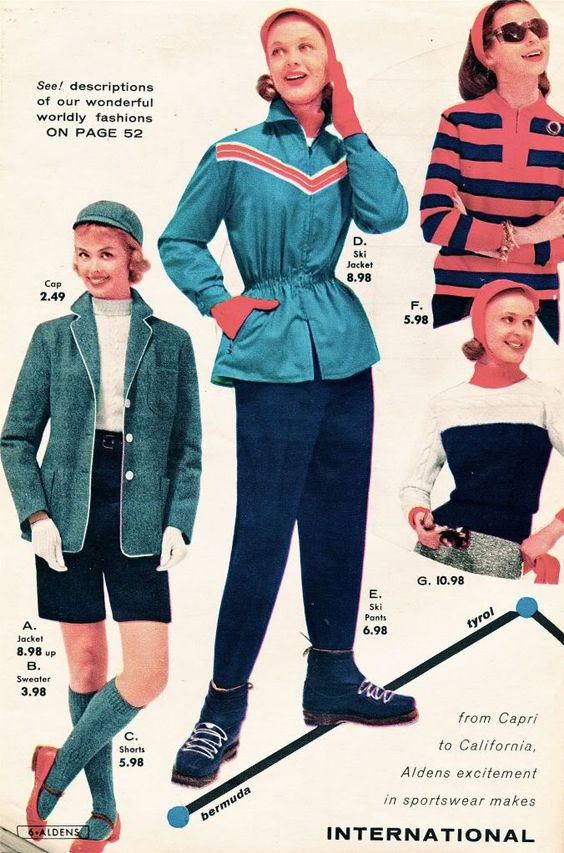 Terrific sportswear looks from the pages of Aldens 1956-57 catalog. #vintage #fashion #1950s