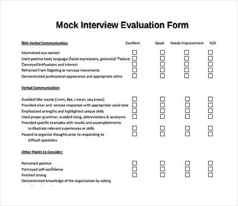 Mock Interview Evaluation Form With Images Interview Skills