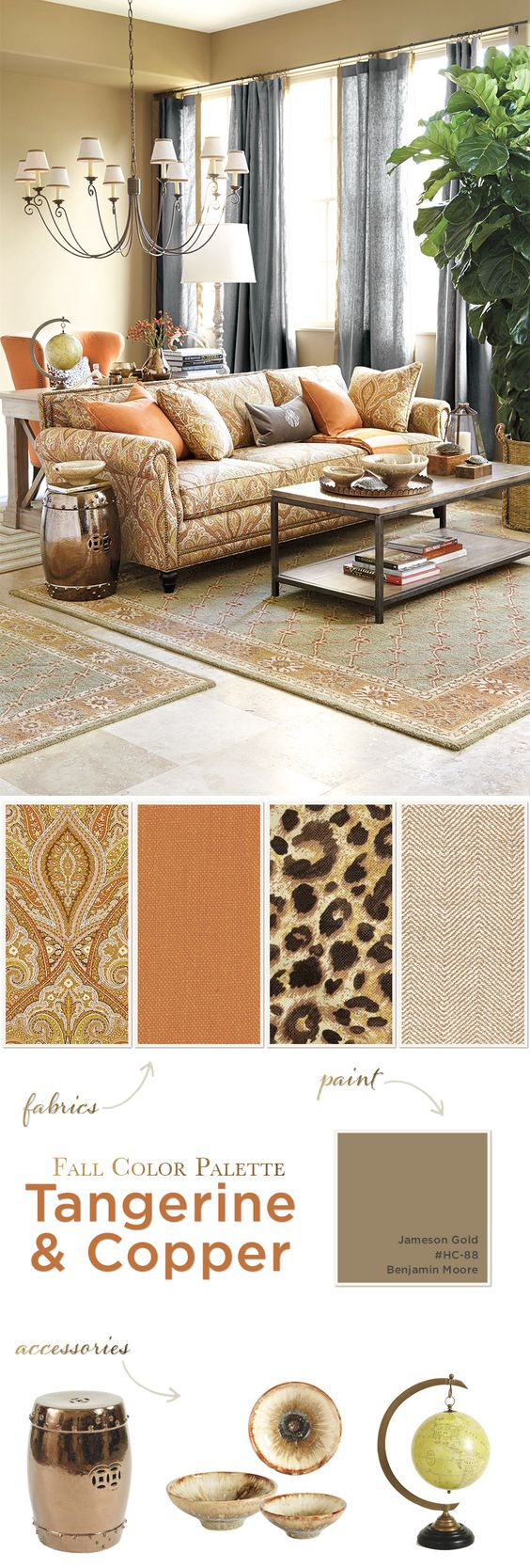 Fall color palette with copper and oranges. The soft gray curtains ...