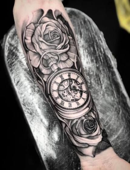 Super Tattoo Sleeve Rose Black And White Ideas Pocket Watch Tattoos Watch Tattoos Forearm Sleeve Tattoos