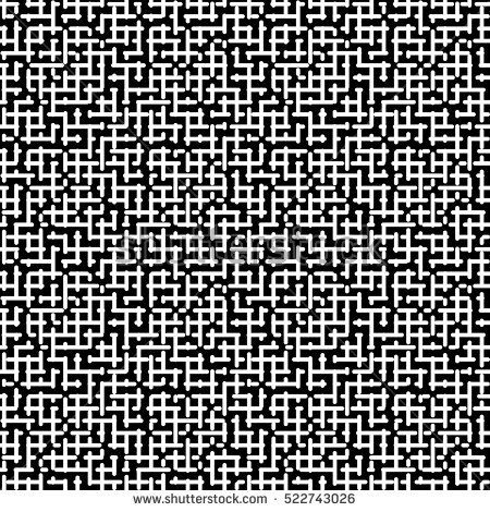 Vector monochrome seamless pattern, black & white geometric texture. Simple illustration of maze. Abstract contrast repeat background. Design for prints, textile, decoration, package, digital, web