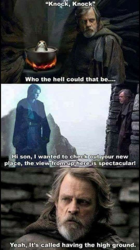 The Highest Of High Ground Star Wars Humor Star Wars Facts Star Wars Memes