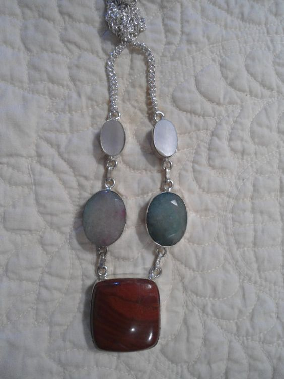 Red Jasper Green Faceted Prehnite Stone Shell Pendant Silver Overlay Necklace Gemstone Necklace Natural Stone Eco Friendly Jewelry Statement by LandofBridget