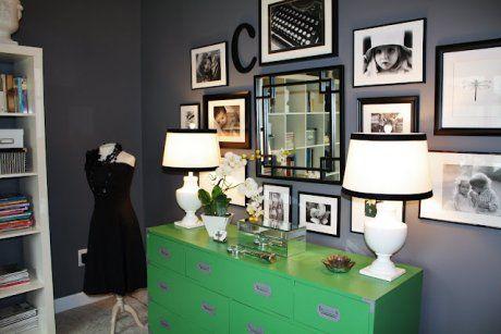 Green campaign dresser looks great off a medium gray wall