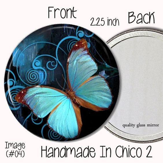 Pocket Mirror (04) - 2.25 inch Neon Turquoise Blue Butterfly Pocket Mirror - Great Gift $4.25 thecraftstar, pocket mirror, butterfly mirror, blue butterfly