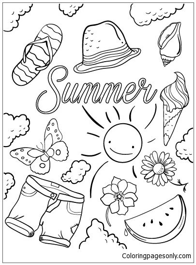 Hello Summer Coloring Page  Summer coloring pages, Summer