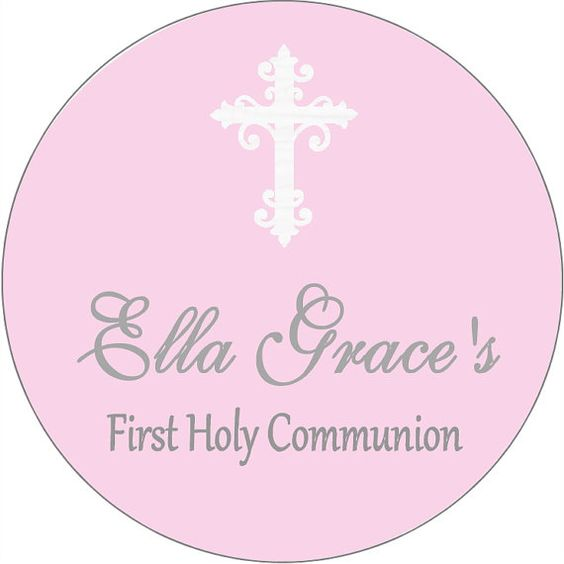 40 2 inch First 1st Communion stickers labels tags boy cross