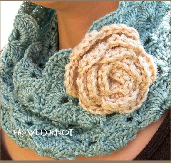 The Perfect Cowl w/detachable flower Pattern: Crochet Scarf, Crochet Shawl, Crochet Pattern