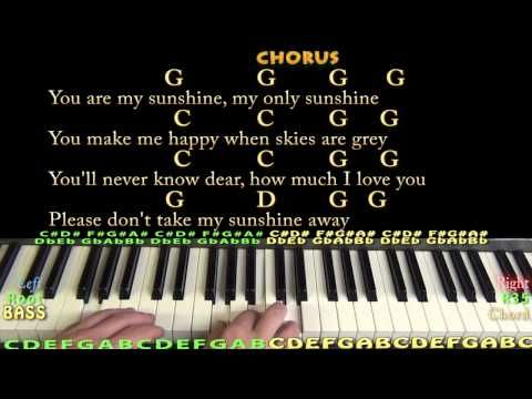 Youtube With Images Piano Chords Chart You Are My Sunshine
