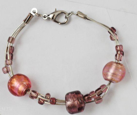 Wire Glass Bead Bracelet