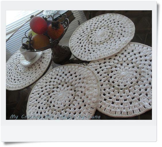 Granny Round Placemats Crochet Spots Pinterest Happy ...